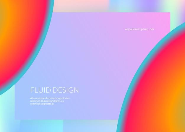 Fluide liquide. maille dégradée vive. interface minimaliste, conception d'interface utilisateur. toile de fond holographique 3d avec mélange tendance moderne. fluide liquide avec éléments et formes dynamiques. page de destination.