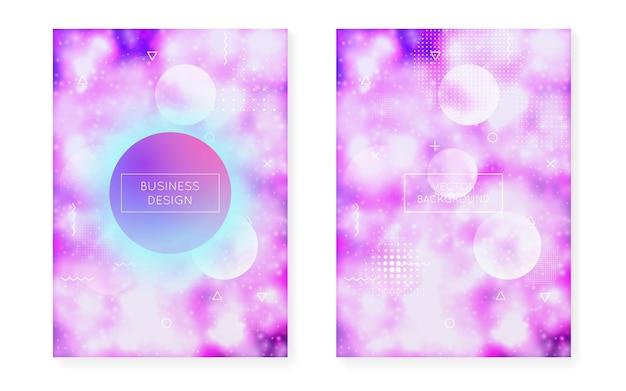 Fluide moderne. conception de hippie. bannière de l'espace. flyer dynamique. modèle multicolore rétro. fond néon. forme magique violette. points à la mode. fluide moderne violet