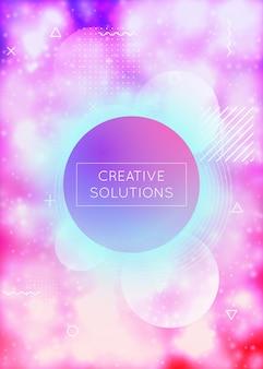 Fluide numérique. texture liquide. conception de lumière bleue. points dynamiques. vecteur brillant. présentation minimale. magazine rond irisé. circulaire à la mode. fluide numérique violet
