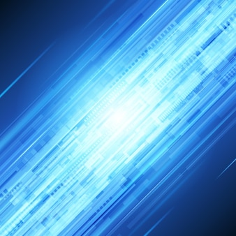 Flux d'abstrait de rayons techno bleu.