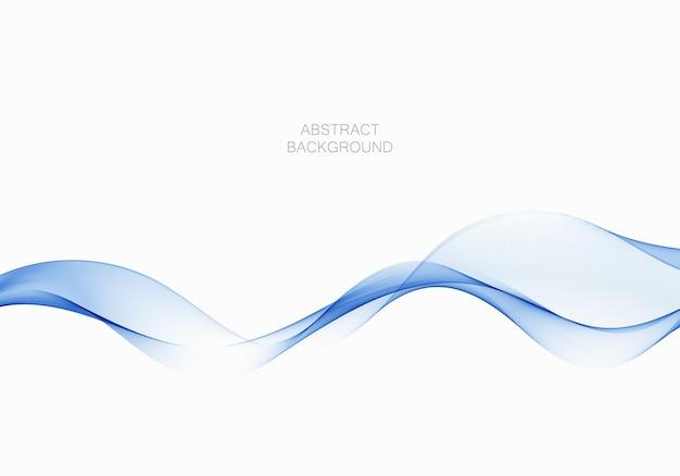Flux bleu vague transparente fumée abstrait élément de conception vecteur