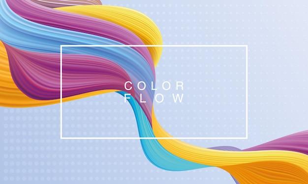Flux de couleurs vives avec affiche de modèle de fond de cadre rectangle