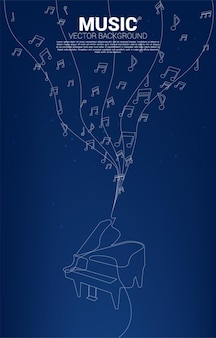 Flux de danse de note de mélodie de musique vectorielle avec violon à une ligne. fond de concept pour le thème classique de la chanson et du concert.