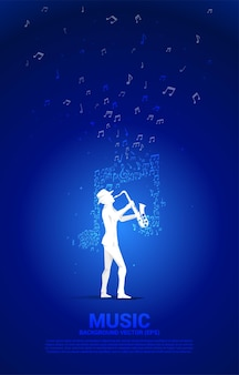 Flux de note de mélodie de musique vectorielle avec homme et saxophone. contexte conceptuel pour la chanson jazz et le thème du concert.