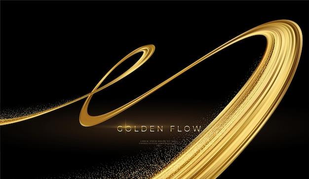 Flux d'or 3d moderne sur fond noir