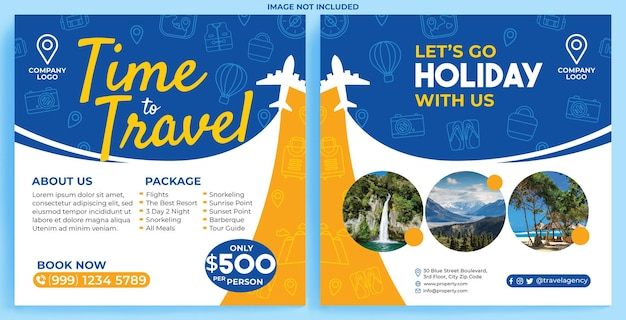 Flux de promotion d'agence de voyages de vacances instagram dans un style design plat