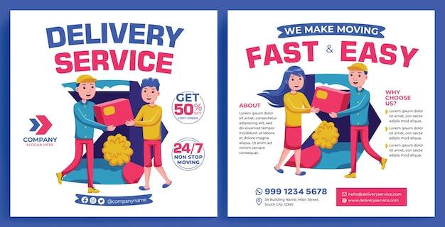 Flux de promotion du service de livraison instagram dans un style design plat