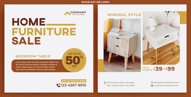 Flux de promotion de meubles instagram dans un style design plat