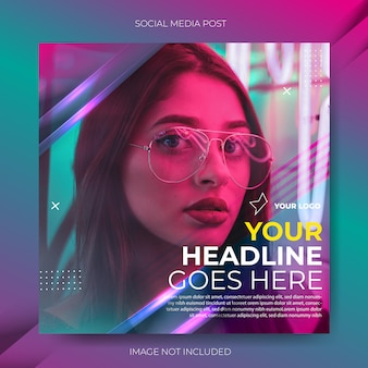 Flux de publication de modèle de médias sociaux dégradé vert violet
