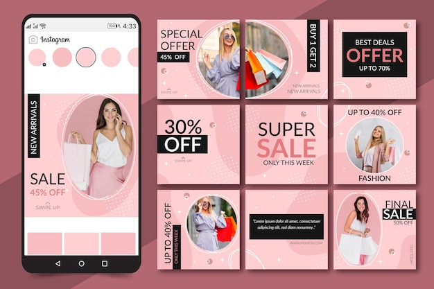 Flux de puzzle créatif instagram avec 9 modèles