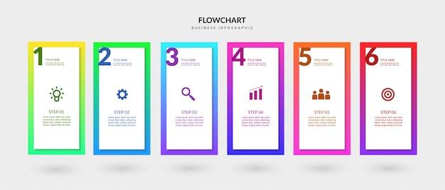 Flux de travail coloré étapes entreprise infographique, éléments graphiques organigramme