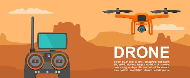 Fly drone avec télécommande sur fond coucher de soleil montagne vector illustration couleur plat