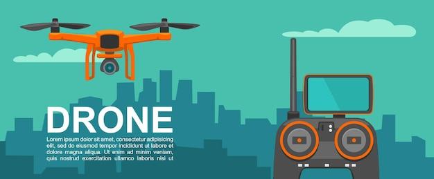Fly drone avec télécommande sur fond de ville de nuit couleur plate de vecteur
