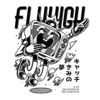 Fly high illustration noir et blanc
