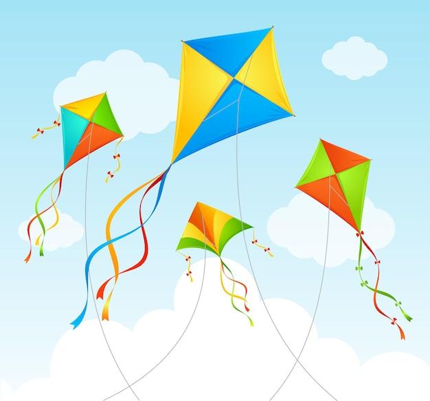 Fly kite et nuages sur un ciel bleu.