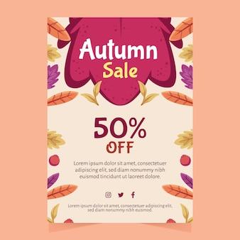 Flyer a4 de vente d'automne dessiné à la main