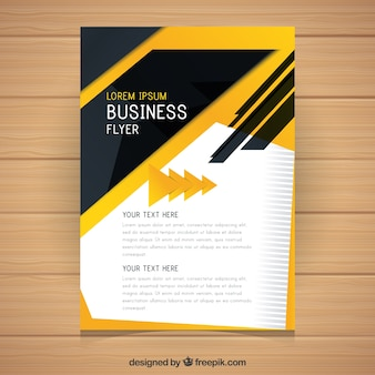 Flyer d'affaires abstrait jaune et noir