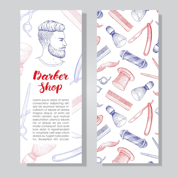 Flyer d'affaires barber shop vintage dessinés à la main