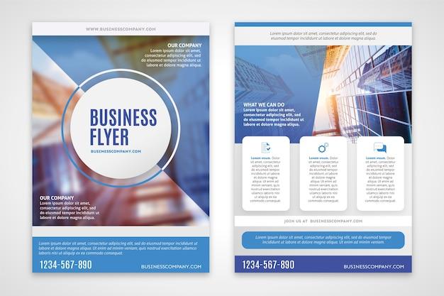 Flyer d'affaires avec bâtiment flou