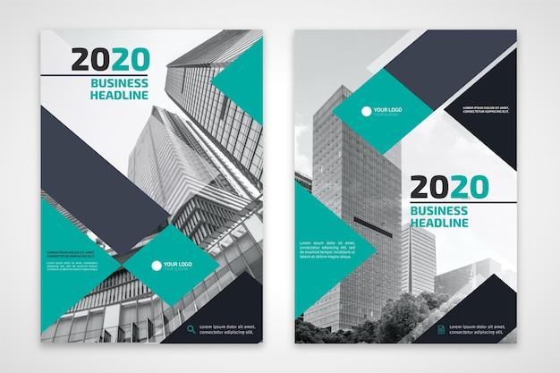 Flyer d'affaires avec des bâtiments gris