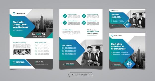 Flyer d'affaires et modèle de bannière de médias sociaux