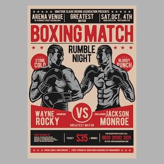Flyer affiche de boxe