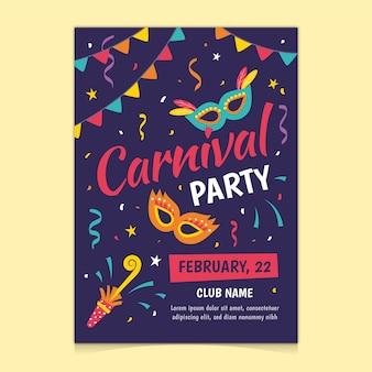 Flyer / affiche de fête de carnaval dessiné à la main