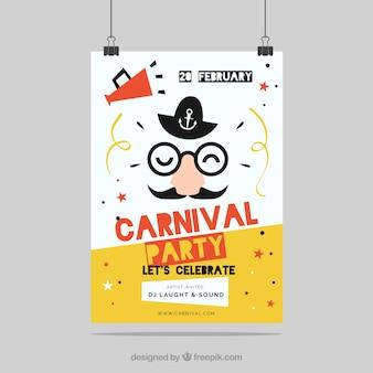 Flyer / affiche de fête de carnaval plat