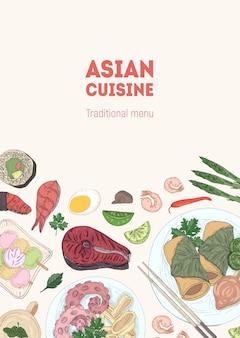 Flyer, affiche ou modèle de menu avec de délicieux repas de cuisine asiatique traditionnelle allongés sur des assiettes