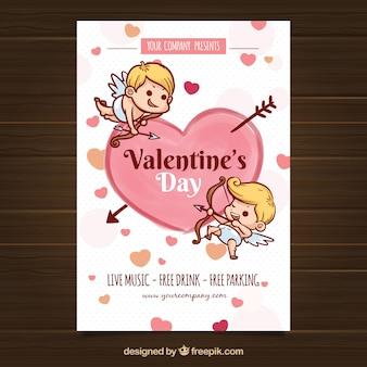 Flyer / affiche de la saint-valentin dessinés à la main