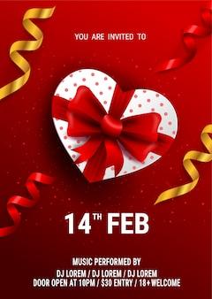 Flyer ou affiche de la saint-valentin heureuse. vue de dessus sur la boîte-cadeau et l'arc