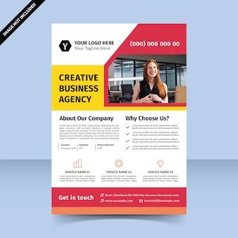 Flyer d'agence de création d'entreprise rouge jaune vif