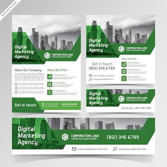 Flyer d'agence de marketing numérique, médias sociaux et modèles de bannières