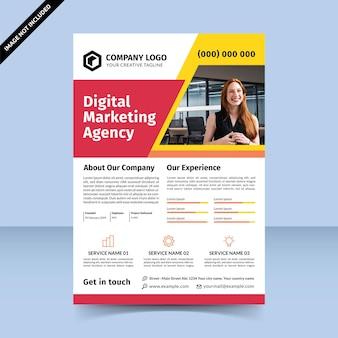Flyer de l'agence de marketing numérique rouge jaune femme d'affaires