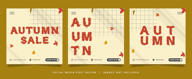 Flyer d'automne ou bannière de médias sociaux avec effet de texte modifiable