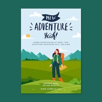 Flyer d'aventure de randonnée design plat