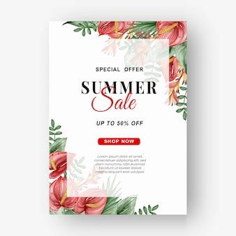 Flyer de bannière de vente d'été avec aquarelle de feuilles tropicales de verdure et d'anthurium