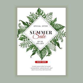 Flyer de bannière de vente d'été avec aquarelle de feuilles tropicales de verdure