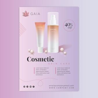 Flyer de bouteille cosmétique avec photo