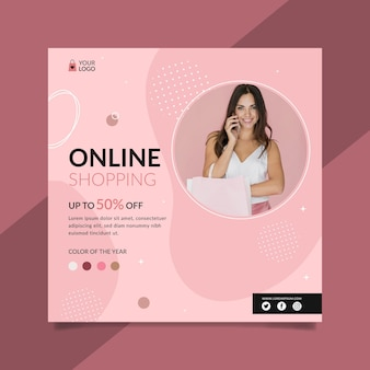 Flyer carré des achats en ligne
