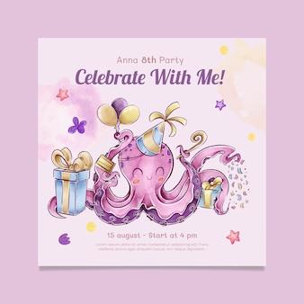 Flyer carré d'anniversaire pour enfants