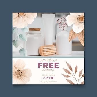 Flyer carré aquarelle livraison gratuite