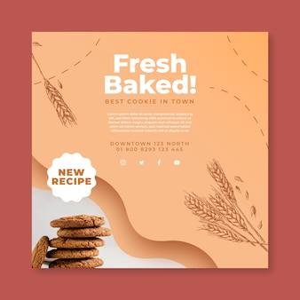 Flyer carré de biscuits cuits au four