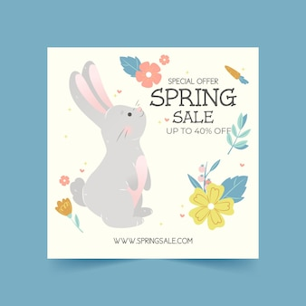 Flyer carré dessiné à la main de vente de printemps