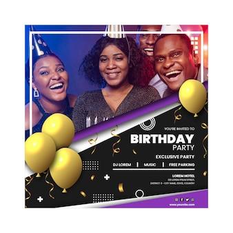 Flyer carré de fête d'anniversaire avec photo