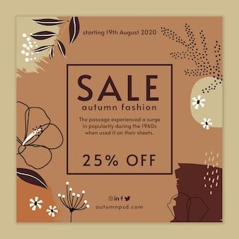 Flyer carré de modèle de vente d'automne