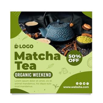 Flyer carré de thé matcha