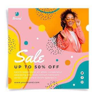 Flyer carré de vente dessiné à la main avec photo