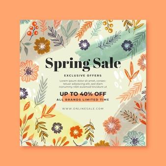 Flyer carré de vente de printemps dessiné à la main
