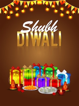 Flyer et carte de voeux shubh diwali avec pack de cadeaux